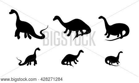 Set Of Black Dinosaur Silhouettes, Three Different Dinosaurs, Fossil, Prehistoric Era. Extinct Dinos