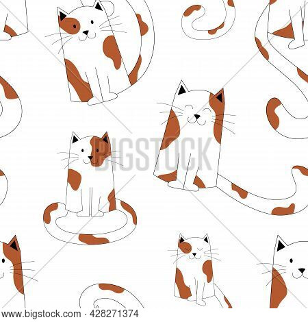 Cute Seamless Pattern Of Spotted Cats Sitting, With Long Tails. Kittens Print, Cute Pets. Cats With