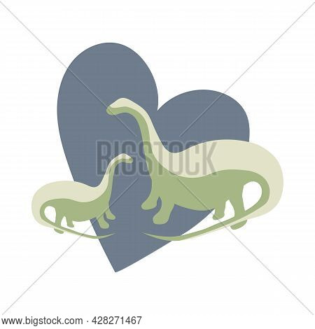 Two Green Dinosaurs With Blue Heart Background, Animal Protection, Animal Love Theme, Dinosaur Famil