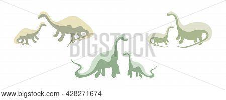 Set Of Green Dinosaur Silhouettes, Three Pairs Of Dinosaurs, Prehistoric Era. Extinct Dino Species,