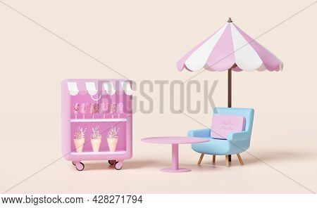 Shop Store With Ice Cream Showcases Or Fridge,coffee Table,pink Umbrella Isolated On Cream Color Bac