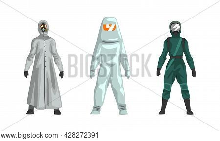 Man In Hazmat Suit As Personal Protective Equipment With Impermeable Garment Vector Set