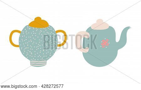 Cute Hand Drawn Teapot Or Kettle For Brewing Tea Vector Set