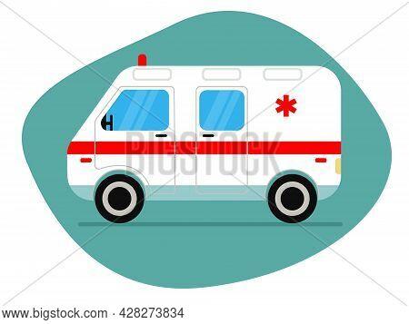 Vector Illustration Of An Ambulance On A Blue Background. Ambulance Ambulance Paramedic. Medical Eva