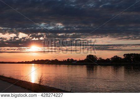 Colorful Sunset On River Danube, Komarom, Hungary