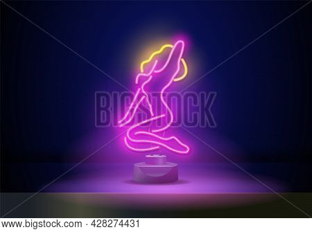 Sex Girl Neon Sign. Vector Illustration Of Adult Show Promotion. Design Template Neon Sign, Light Ba
