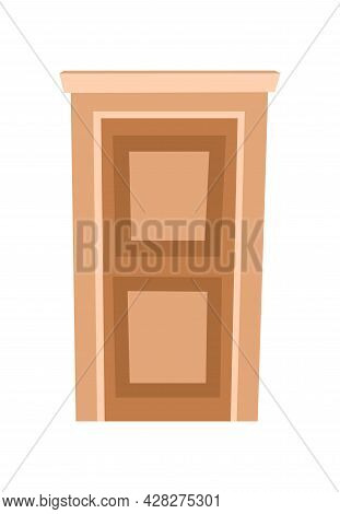 Door Is Closed. Doorway Of House Or Apartment. Light. Entrance Is Outside. Cheerful Cartoon Style. I
