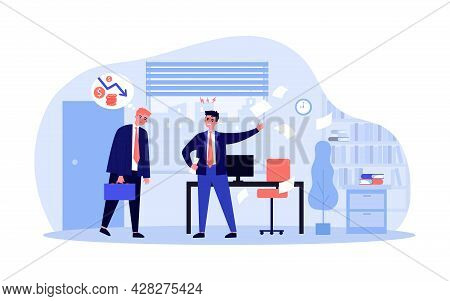 Boss Dissatisfied With Employee Work. Flat Vector Illustration. Frustrated Employee Thinking About F