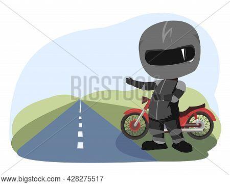 Biker Cartoon. Child Illustration. Hiking. Sports Uniform And Helmet. Cool Motorcycle. Chopper Bike.