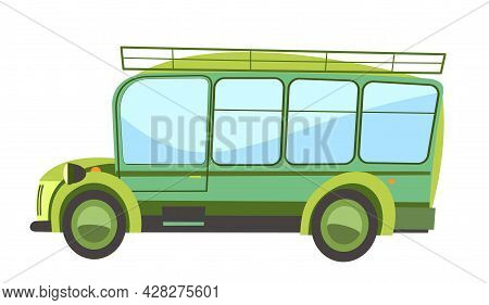 Green Tourism Bus. Cartoon Comic Funny Style. Side View. Automobile For Safari. Auto In Flat Design.