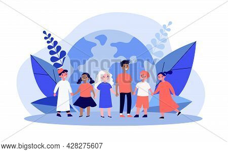 Children Of Different Nationalities In Front Of Globe. Multicultural Kids Holding Hands Flat Vector