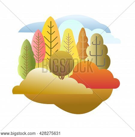 Autumn Forest. Flat Style Symbolic Illustration. Landscape In Orange, Yellow And Green Tones. Rural