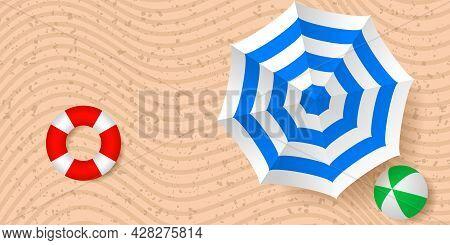 Beach Umbrella, Life Buoy And Beach Ball. Top View. Hello Summer Concept