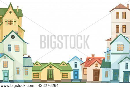 Cartoon Houses Of Different Colors. Village Or Town. Frame. A Beautiful, Cozy Country House In A Tra
