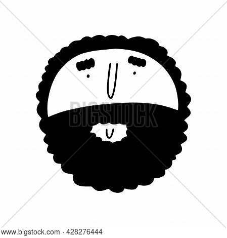Doodle Bearded Round Face. Hand-drawn Outline Human Isolated On White Background. Fun Avatar. Cartoo