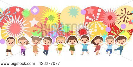 Children Dance Joy. Happy Childhood. Bright Impressions. Little Boys And Girls. Kid Is Jumping For J