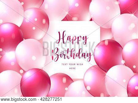 Elegant Girlish Red Rose Pink Ballon Happy Birthday Celebration Card Banner Template Background
