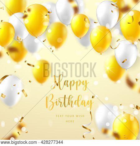 Elegant Yellow White Ballon And Party Popper Ribbon Happy Birthday Celebration Card Banner Template
