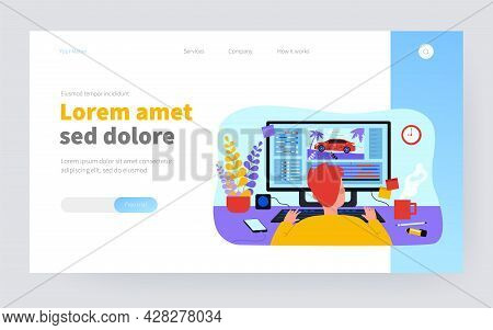 Animator Sitting At Workplace And Creating Motion Design Isolated Flat Vector Illustration. Cartoon