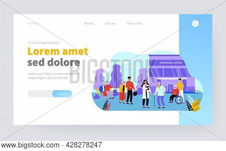 Nurse, Visitors And Old People In Front Of Nursing Home Building Flat Vector Illustration. Cartoon G