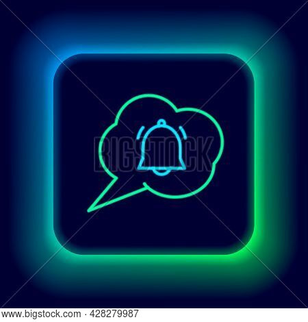 Glowing Neon Line Speech Bubble With Chat Notification Icon Isolated On Black Background. New Messag