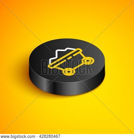 Isometric Line Coal Mine Trolley Icon Isolated On Yellow Background. Factory Coal Mine Trolley. Blac