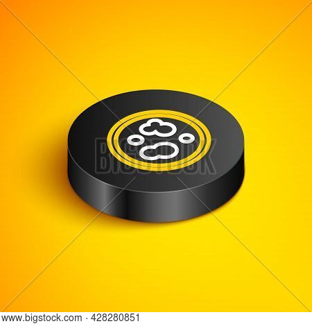 Isometric Line Petri Dish With Bacteria Icon Isolated On Yellow Background. Black Circle Button. Vec