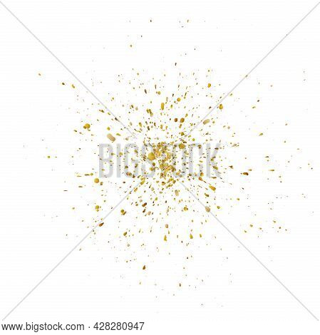 Gold Colored Paint Spray Or Splatter Isolated On White, Vector Illustration