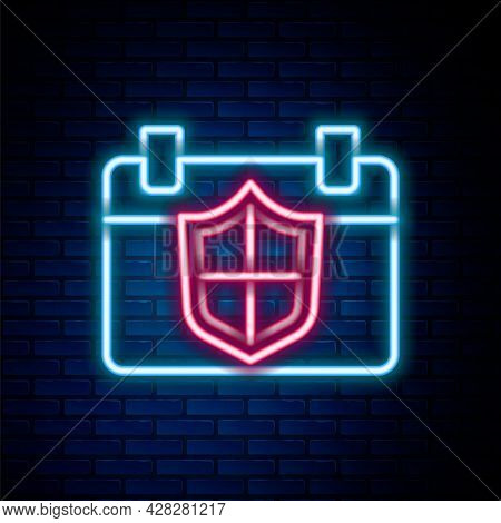Glowing Neon Line Calendar With Shield Icon Isolated On Brick Wall Background. Insurance Concept. Gu