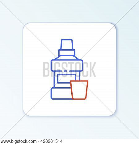 Line Mouthwash Plastic Bottle And Glass Icon Isolated On White Background. Liquid For Rinsing Mouth.