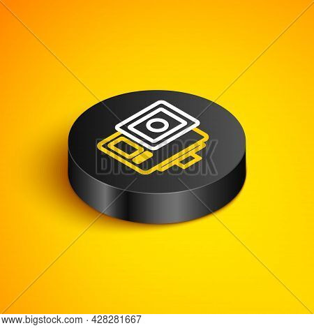 Isometric Line Action Extreme Camera Icon Isolated On Yellow Background. Video Camera Equipment For