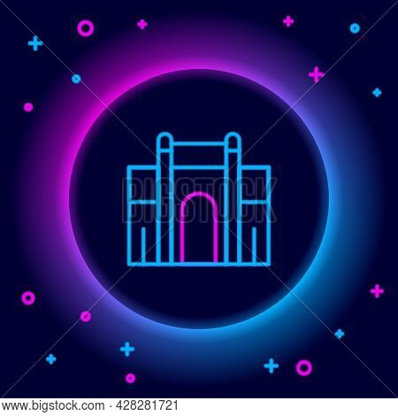 Glowing Neon Line India Gate In New Delhi, India Icon Isolated On Black Background. Gate Way Of Indi