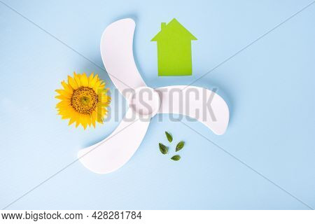 Alternative Energy Source. Eco Energy Concept, Green House. Flat Lay. Isolated On Blue Background. H
