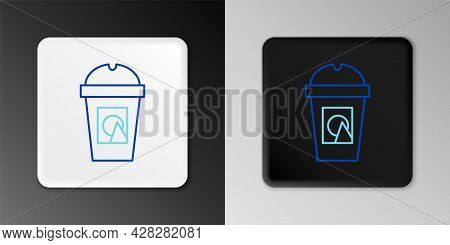 Line Coffee Cup To Go Icon Isolated On Grey Background. Take Away Print. Colorful Outline Concept. V