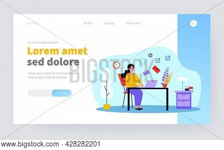 Freelancer Emailing At Night. Woman Working At Laptop, Sending And Receiving Letters Flat Vector Ill