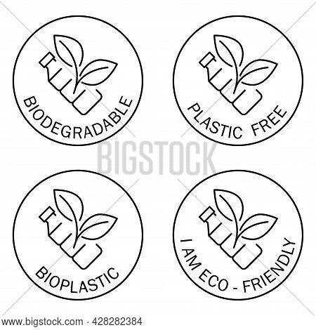 Plastic Free Icons. Biodegradable. Round Symbol With Bottle And Leaves Inside. Recycling Plastic Bot
