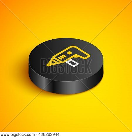 Isometric Line Electric Drill Machine Icon Isolated On Yellow Background. Repair Tool. Black Circle