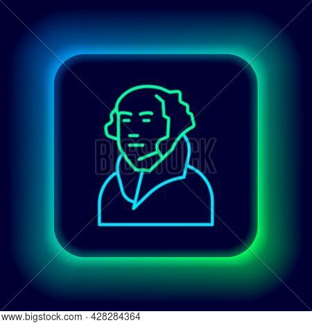 Glowing Neon Line George Washington Icon Isolated On Black Background. Colorful Outline Concept. Vec