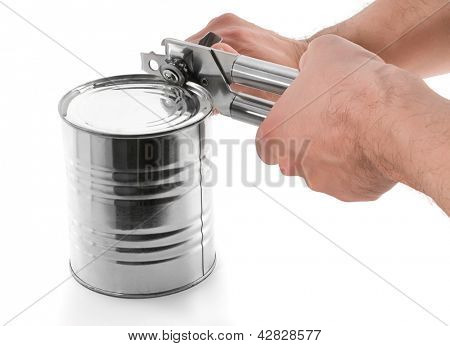 Opening tin can isolated on white background