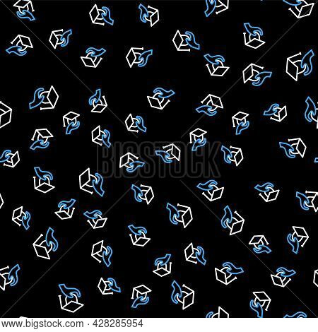 Line Education Grant Icon Isolated Seamless Pattern On Black Background. Tuition Fee, Financial Educ