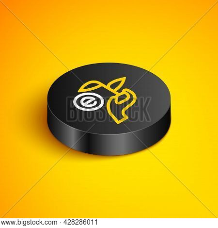 Isometric Line Leaf In Hand Of Environmental Protection Icon Isolated On Yellow Background. Seed And