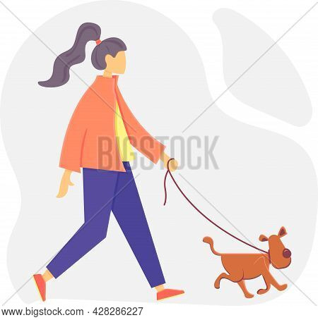 Girl Walking With Cute Dog. Pet On A Leash. Vector Illustration In Cartoony Style