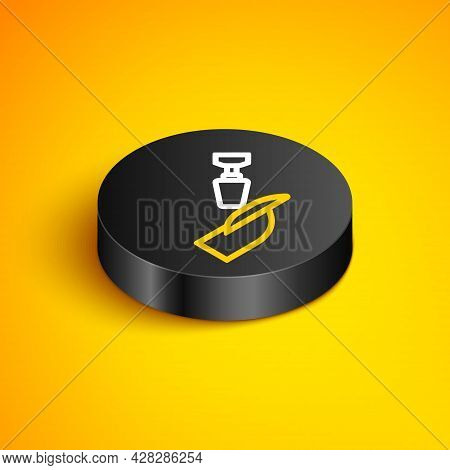 Isometric Line Milling Cutter For Manicure Icon Isolated On Yellow Background. Apparatus For Manicur