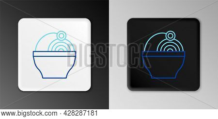 Line Ramen Soup Bowl With Noodles Icon Isolated On Grey Background. Bowl Of Traditional Asian Noodle