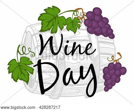 Wine Day Making And Tasting Wine Monochrome Sketch