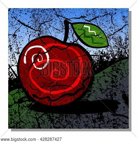 Abstract Still Life With Red Apple. Wall Art, Poster Design.
