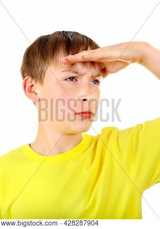 Boy Looking Away On The White Background Closeup