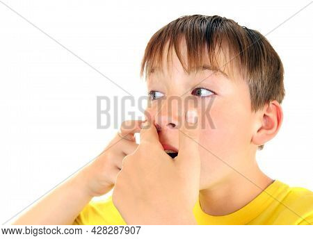 Kid With A Pimple Isolated On The White Background Closeup