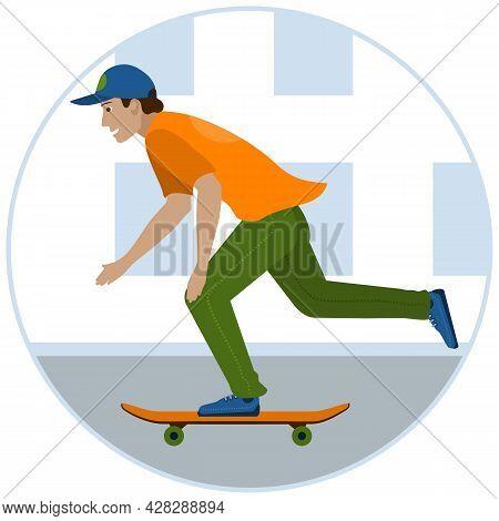 Smiling Skateboarder Riding A Skateboard Down The Street. Vector Illustration.