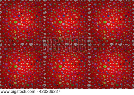 Raster Illustration. Cute Hearts Love On Green, Blue And Red Colors On Nice Background. Seamless Six